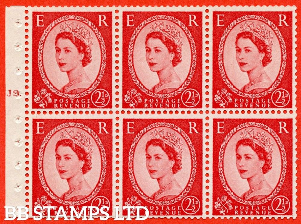 "SG. 574. SB82. 2½d Carmine Red Type II. A fine UNMOUNTED MINT cylinder "" J9 T dot "" booklet pane of 6. Perf type (Iet) with TRIMMED PERFS. Smooth edge. Cream paper."