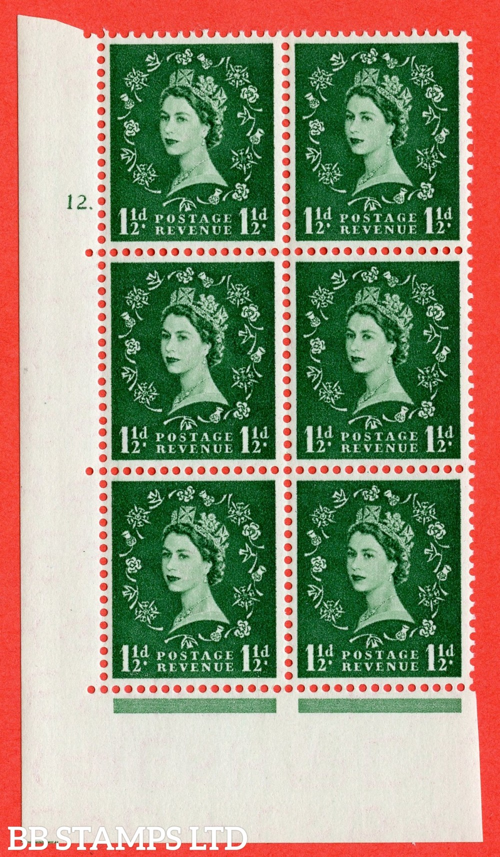 """SG. 517. S25. 1½d Green. A superb UNMOUNTED MINT """" cylinder 12 dot """" control block of 6 with perf type A E/I."""
