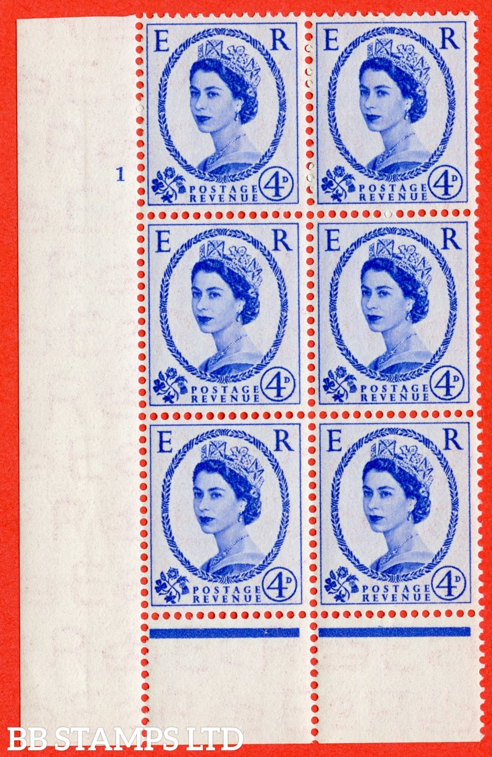 """SG. 521. S81. 4d Ultramarine. A superb UNMOUNTED MINT """" cylinder 1 no dot """" control block of 6 with perf type B I/P."""