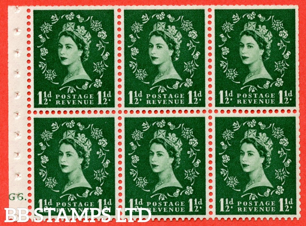 "SG. 542. SB62. 1½d green. A fine UNMOUNTED MINT cylinder "" G6 dot "" booklet pane of 6. Perf type (Ieb) with TRIMMED PERFS. Smooth edge."