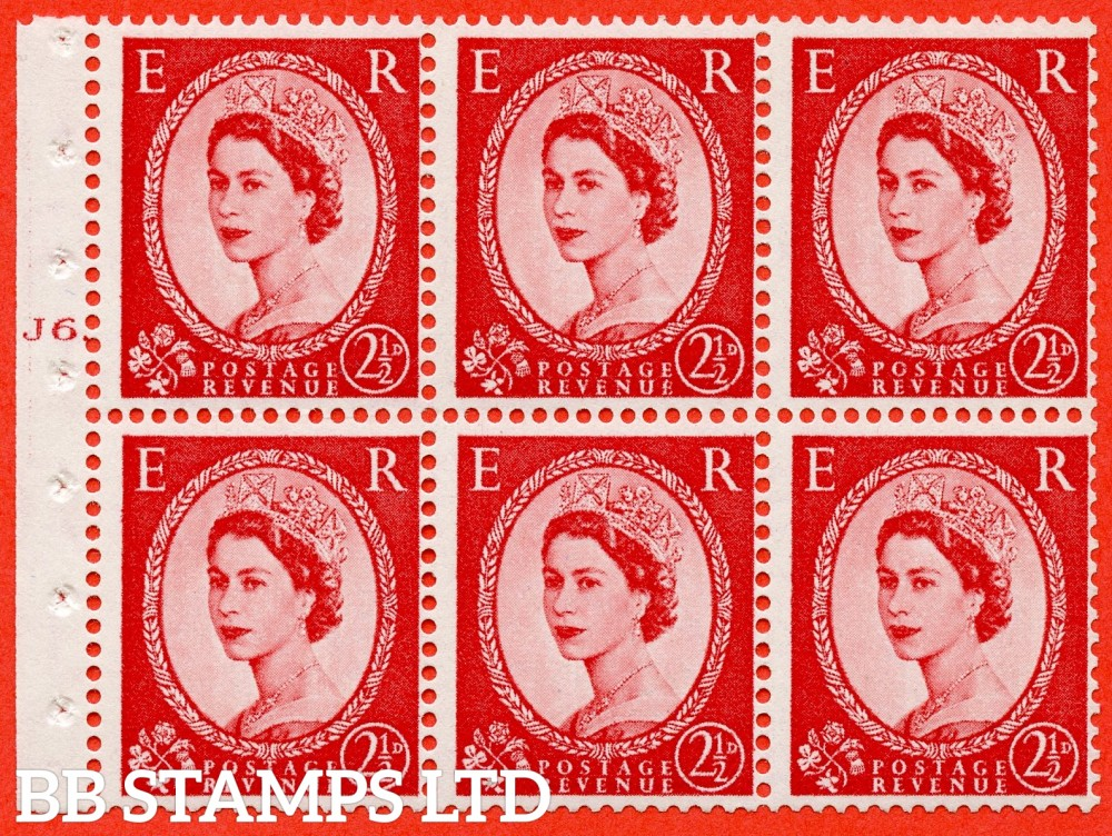 "SG. 544b. SB81. 2½d carmine - red. A fine UNMOUNTED MINT "" J6 T No dot "" booklet pane of 6. Perf type (Iet) with TRIMMED PERFS. Smooth edge."