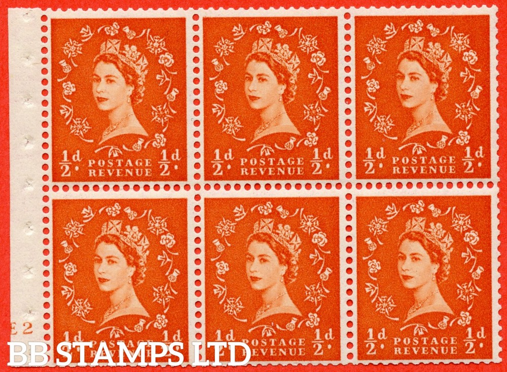 "SG. 515. SB1. ½d orange - red. A fine mounted mint cylinder "" E2 no dot "" booklet pane of 6. Perf type (I) with TRIMMED PERFS. Smooth edge."