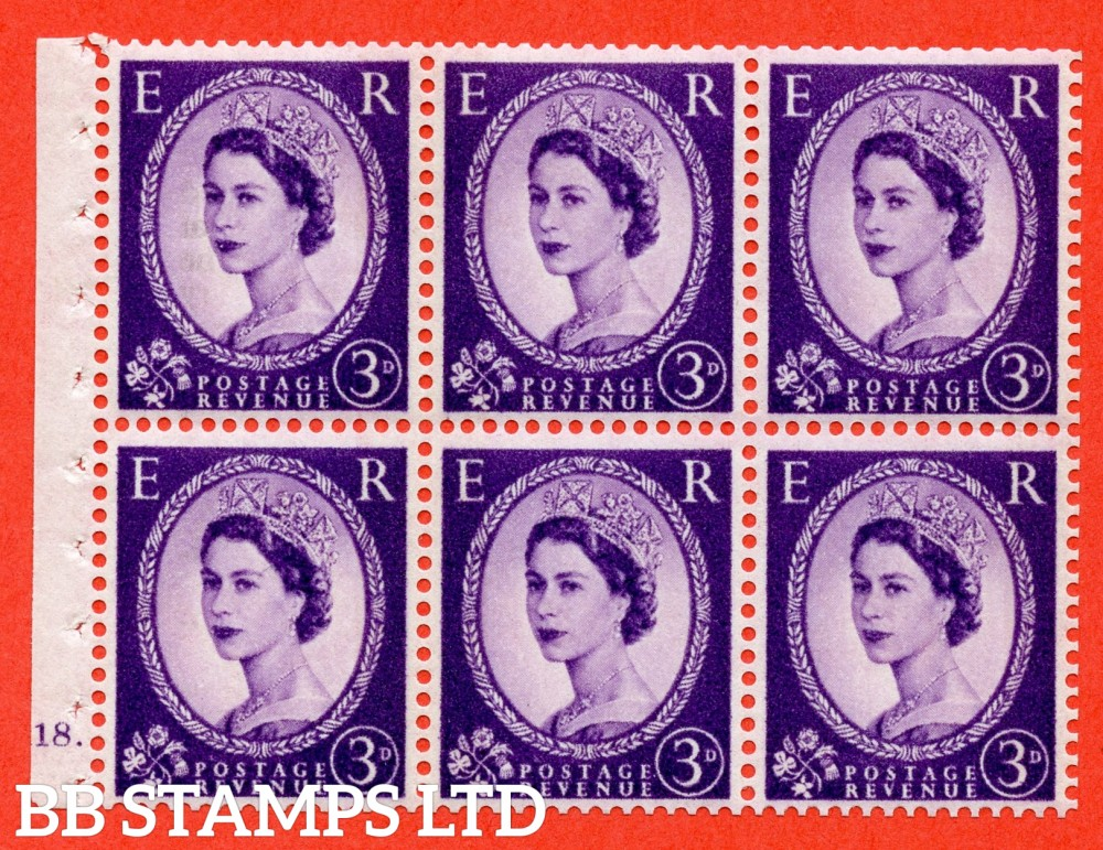 "SG. 615. SB103. 3d Deep Lilac. A fine UNMOUNTED MINT cylinder "" K18 dot "" booklet pane of 6. Perf type (Ieb) with TRIMMED PERFS. Smooth edge. White Paper."
