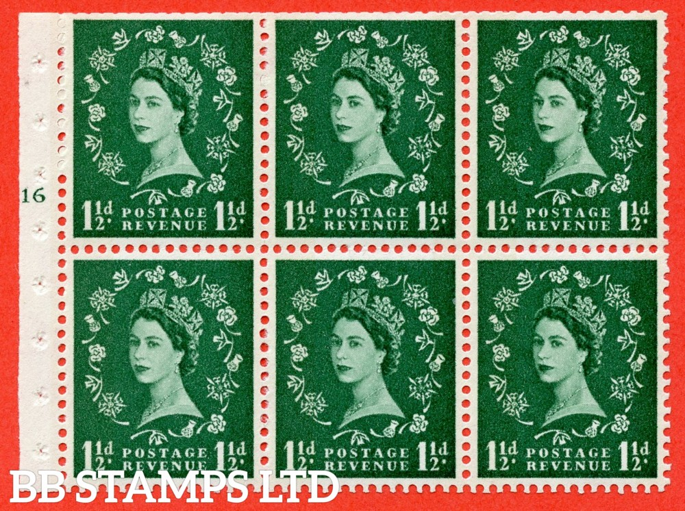 "SG. 612. SB73. 1½d Green. A fine UNMOUNTED MINT cylinder "" G16 T no dot "" booklet pane of 6. Perf type (I) with TRIMMED PERFS. Smooth edge. White Paper."