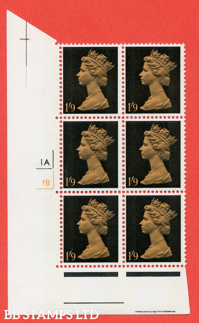 "SG. 744. U30. 1/9 dull orange and black  A superb UNMOUNTED MINT "" cylinder 1a 1b no dot "" control block of 6 with perf type A (E/I). gum arabic. Head A."