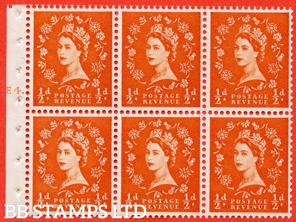 "SG. 540. SB4. ½d orange - red. A fine UNMOUNTED MINT cylinder "" E4 T dot "" booklet pane of 6. Perf type (Iet) with GOOD PERFS. Smooth edge."