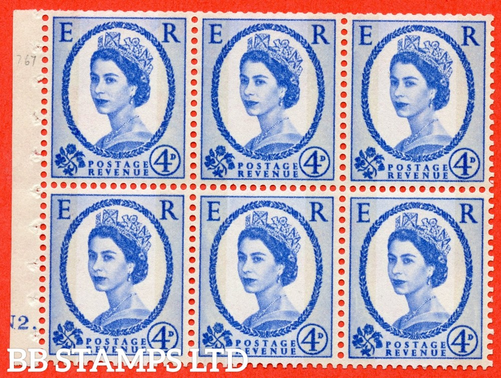 "SG. 616a. SB111. 4d Deep Ultramarine. A fine mounted mint cylinder "" N2 dot "" booklet pane of 6. Perf type (Ieb) with TRIMMED PERFS. Smooth edge."