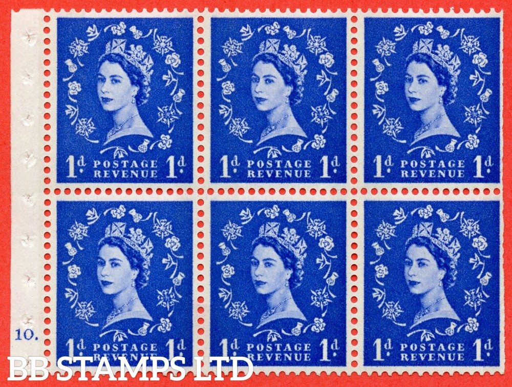"SG. 611. SB41. 1d Ultramarine. A fine mounted mint cylinder "" F10 dot "" booklet pane of 6. Perf type (Iet) with TRIMMED PERFS. Smooth edge. Cream Paper."