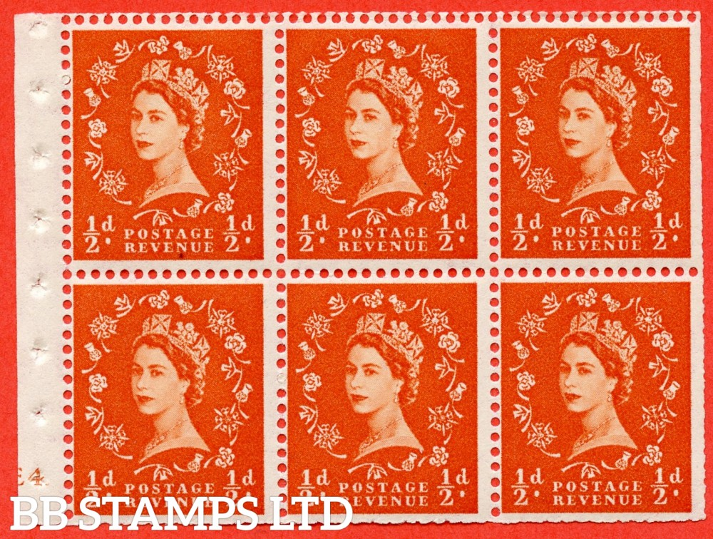 "SG. 515. SB1. ½d orange - red. A fine mounted mint cylinder "" E4 no dot ( Erroneous dot) "" booklet pane of 6. Perf type (I) with TRIMMED PERFS. Smooth edge."