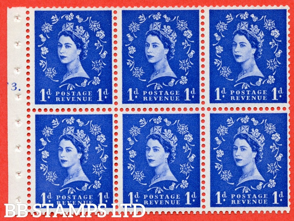 "SG. 571. SB30. 1d Ultramarine. A fine UNMOUNTED MINT cylinder "" F3 T dot "" booklet pane of 6. Perf type (Iet) with GOOD PERFS. Smooth edge Cream paper."