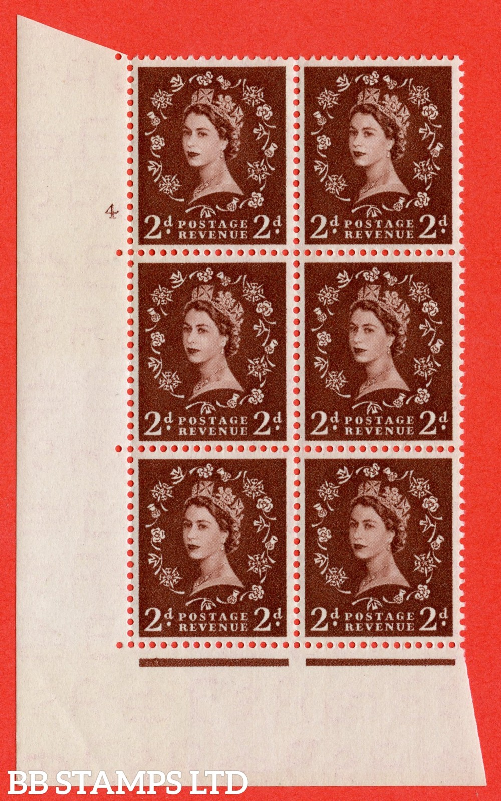 "SG. 518. S36. 2d Red-Brown. A superb UNMOUNTED MINT "" cylinder 4 no dot "" control block of 6 with perf type A E/I."