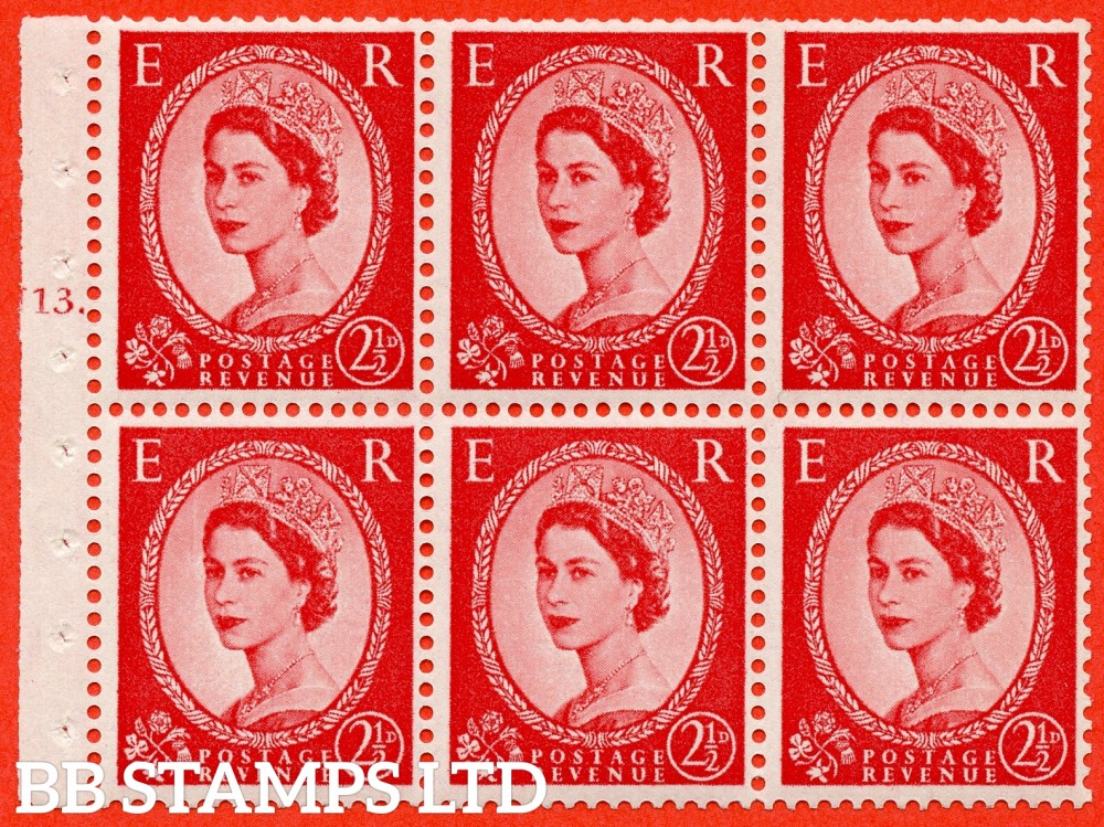 "SG. 574. SB82. 2½d Carmine Red Type II. A fine UNMOUNTED MINT cylinder "" J13 T dot "" booklet pane of 6. Perf type (Ieb) with TRIMMED PERFS. Rough edge. Cream paper."