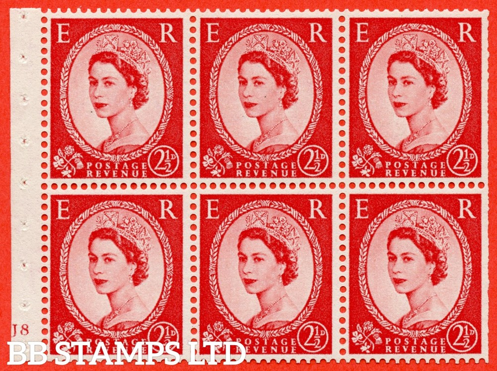 "SG. 544b. SB81. 2½d carmine - red. A fine mounted mint "" J8 no dot "" booklet pane of 6. Perf type (I) with TRIMMED PERFS. Smooth edge"