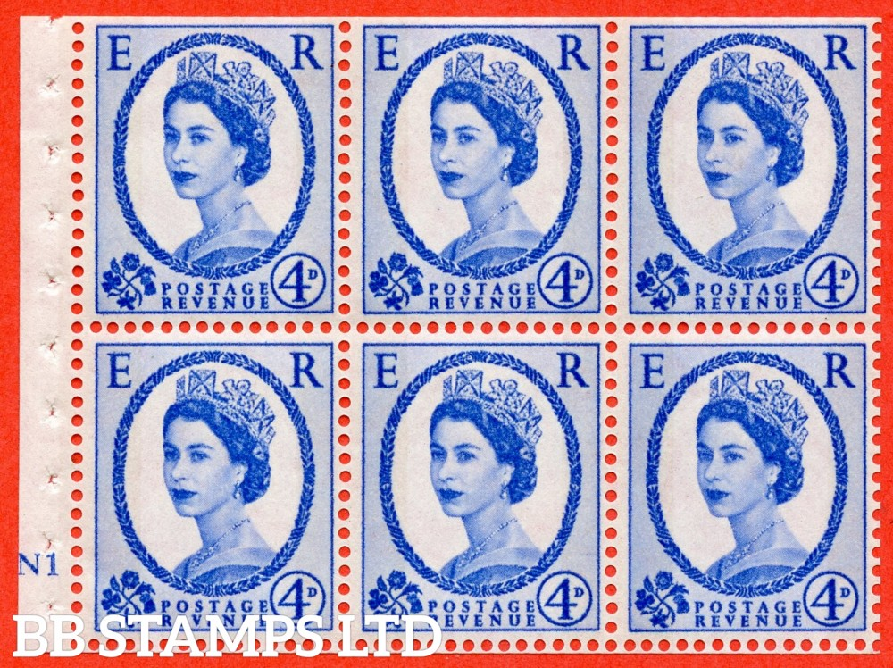 "SG. 616a. SB109. 4d Deep Ultramarine. A fine UNMOUNTED MINT cylinder "" N1 no dot "" booklet pane of 6. Perf type (I) with TRIMMED PERFS. Smooth edge. White Paper."