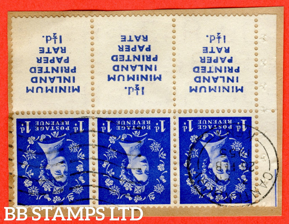 """SG. 516Lawi. SB23a. 1d ultramarine. INVERTED WATERMARK. MINIMUM INLAND PRINTED PAPER RATE 1½d. A very fine """" 26th February CANTERBURY """" CDS used booklet pane of 6 on piece. Perf type Iem. Good Perfs."""