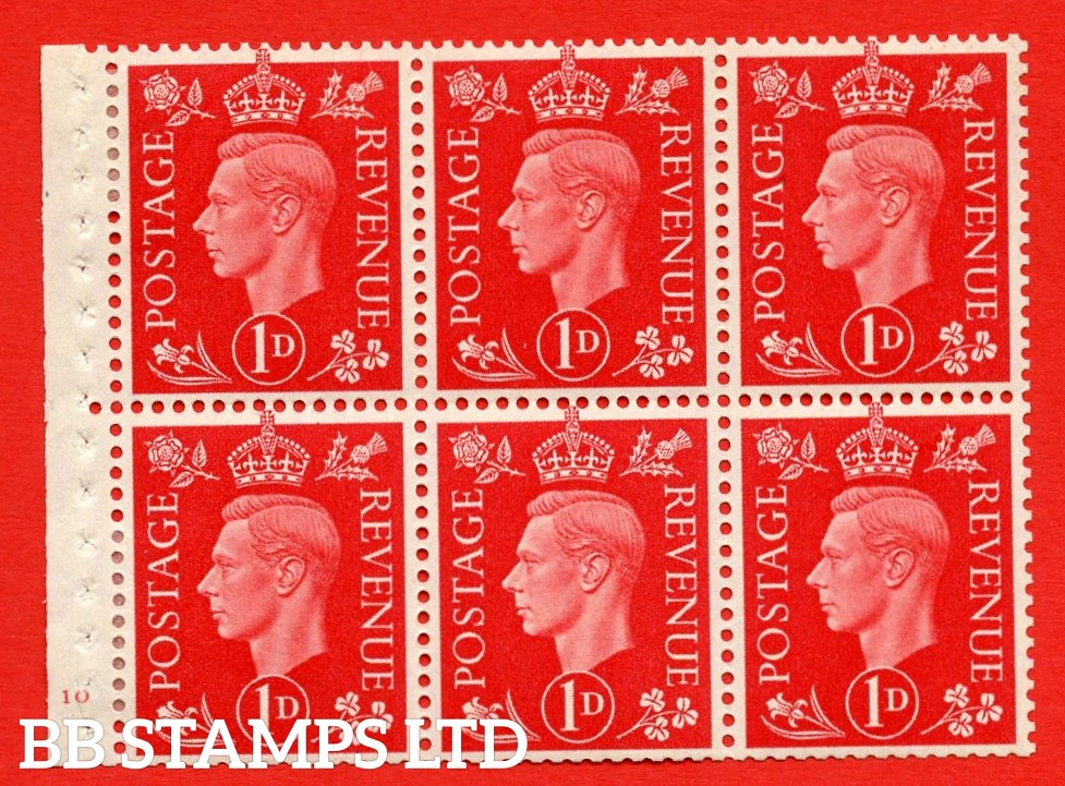 SG. QB10 Perf Type B4(E) 1d Scarlet x 6 Pane, MOUNTED MINT Watermark Upright. Cylinder Pane F10 no dot ( SG. 463b ) Perf Type B4(E). Good Perfs.