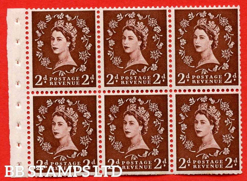 SG. 518. SB76. 2d red - brown. A fine UNMOUNTED MINT booklet pane of 6. Perf type (IR) with Trimmed PERFS.