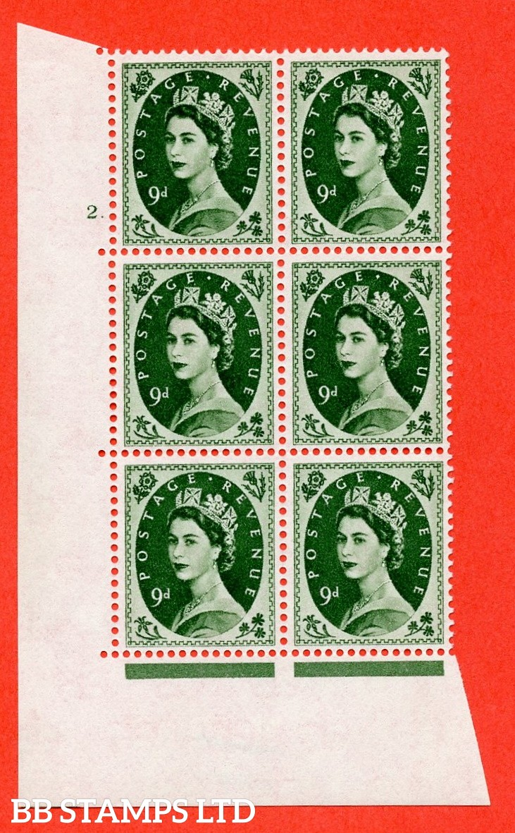 """SG. 582. S127. 9d Bronze-green. A superb UNMOUNTED MINT """" cylinder 2 dot """" control block of 6 with perf type A E/I. WHITE paper."""