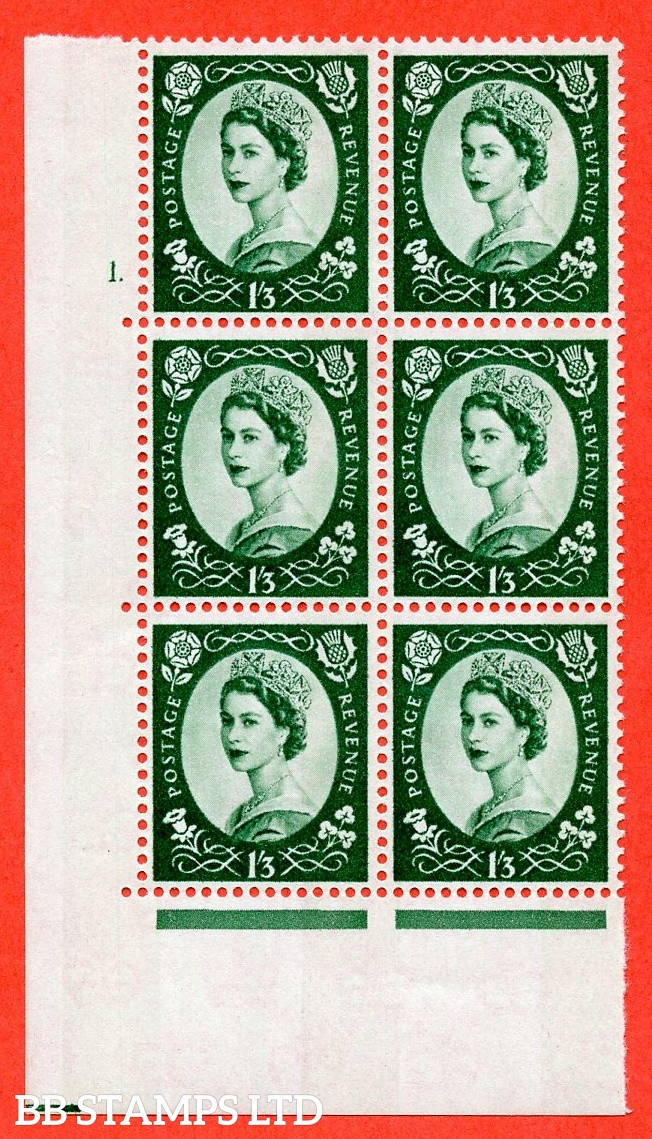 "SG.618. S147. 1/3d Green. A superb UNMOUNTED MINT "" cylinder 1 dot "" control block of 6 with perf type A (E/I). Blue Phosphor White paper."