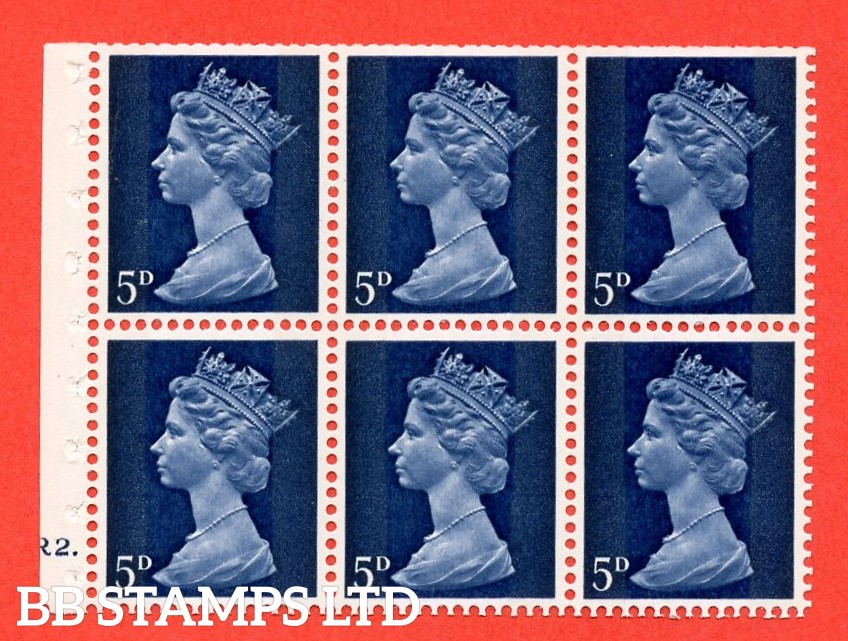 UB19 5d 2 Bands. UNMOUNTED MINT Complete Pre decimal machin Cylinder Pane of 6 R2 Dot . (UB19) Perf Type Ieb. Trimmed Perfs.