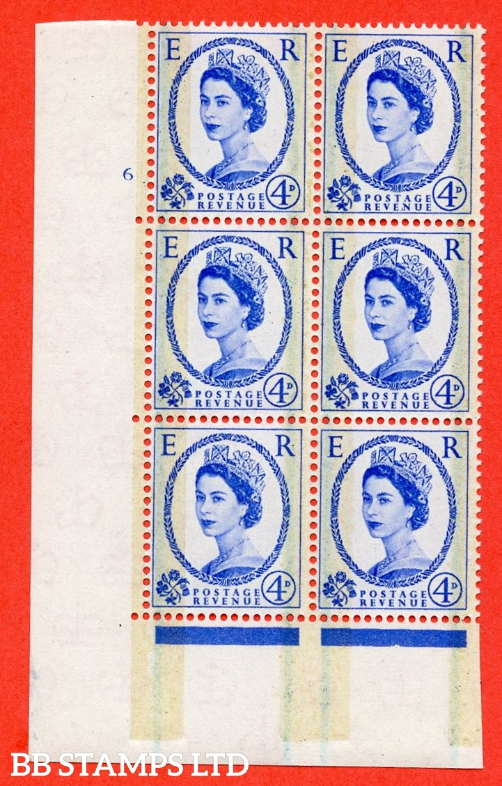 "SG. 608. S87. 4d Ultramarine. A fine mounted mint "" cylinder 6 no dot "" control block of 6 with perf type A E/I."