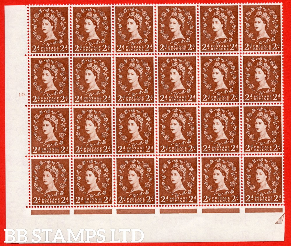 SG. 543b. S38f. 2d. Light Red-brown. A superb MOUNTED MINT example from cylinder 9 dot. corner marginal positional Block of 24. With a Tadpole flaw ERROR R.17/6 variety.(MM in Margins only)