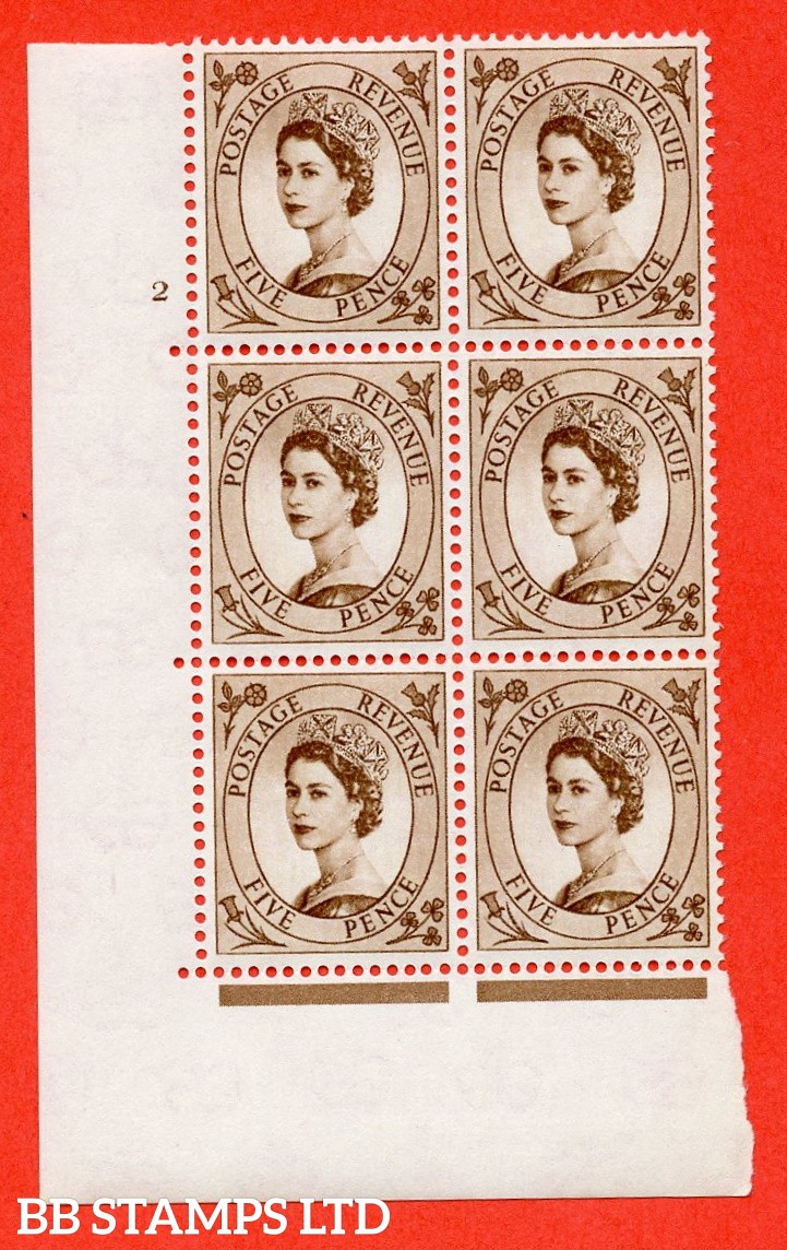"""SG. 578 S101. 5d Brown  A superb UNMOUNTED MINT """" cylinder 2 no dot """" control block of 6 with perf type A (E/I)."""