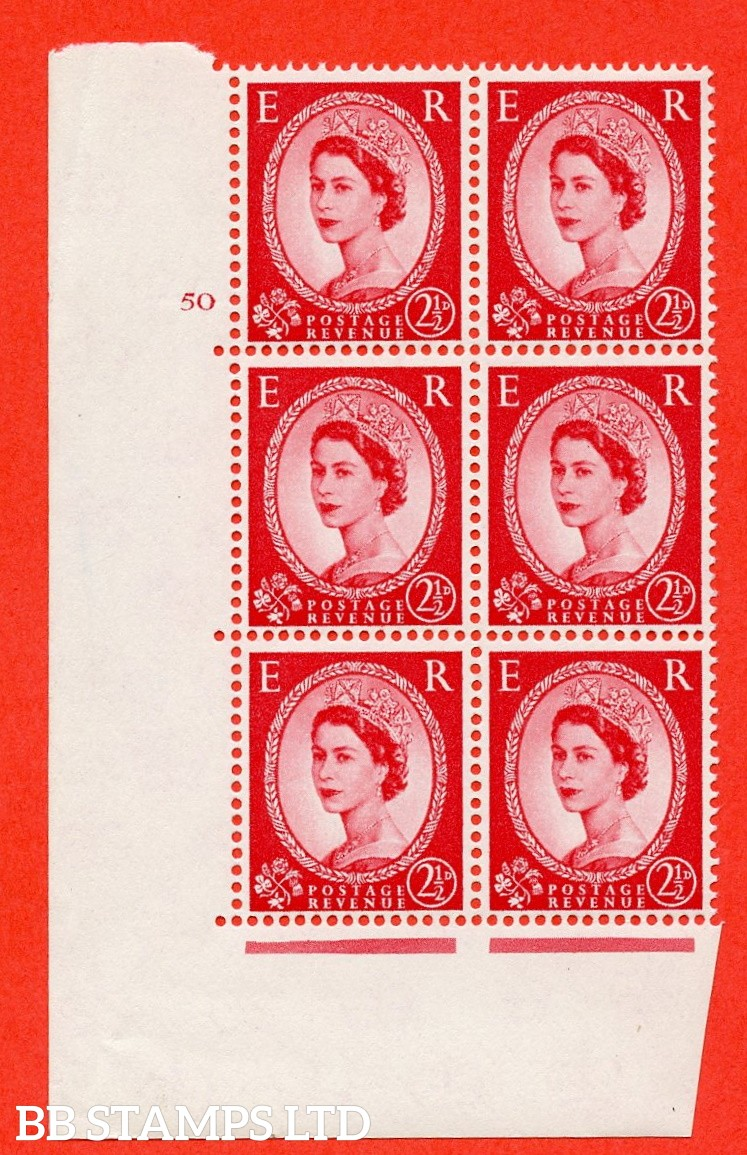 "SG. 574. S55. 2½d Carmine - red.Type II. A fine mounted mint "" cylinder 50 no dot "" control block of 6 with perf type A E/I. CREAM paper."