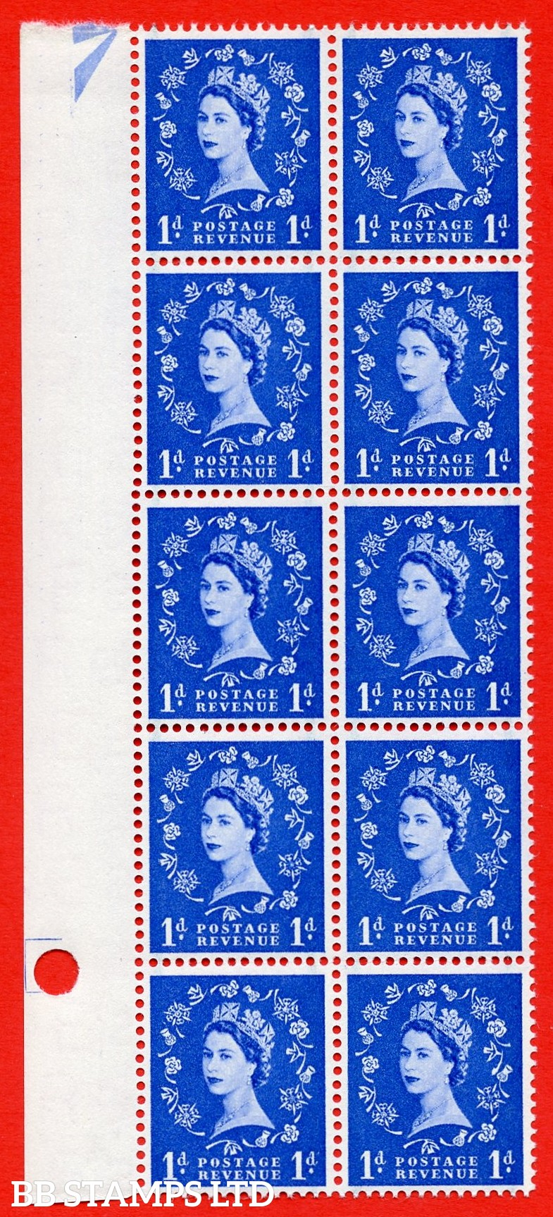 SG. 562. S15b. 1d Ultramarine. A superb UNMOUNTED MINT example. Left marginal positional Block of 10. With a Daffodil stem flaw. ERROR. R.15/2 variety.