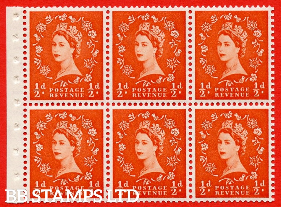 SG. 515. SB1. ½d orange - red. A fine UNMOUNTED MINTexample. Complete Booklet pane of 6. Perf Type IS. Good perfs