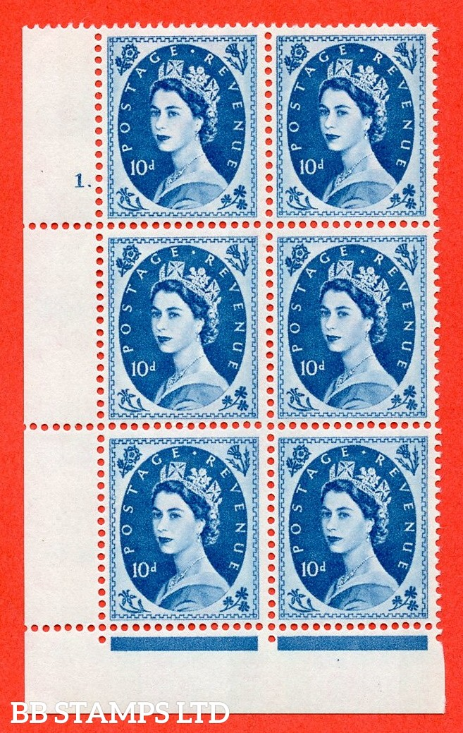 "SG.617d. S133. 10d Prussian Blue. A fine mounted mint "" cylinder 1 dot "" control block of 6 with perf type FL (P/E). violet Phosphor 9½mm Band"