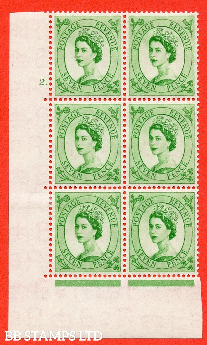 "SG. 524. S114. 7d Bright Green. A fine mounted mint "" cylinder 2 dot "" control block of 6 with perf type A E/I."