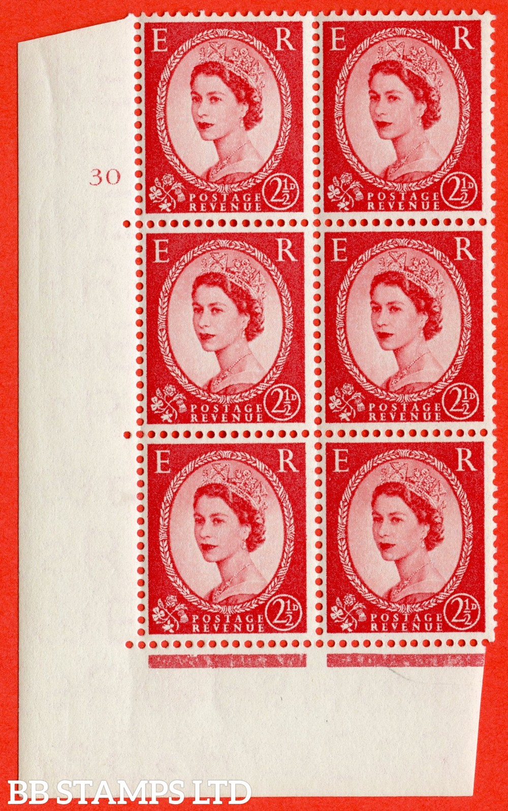"SG. 544. S52. 2½d. Carmine - Red. A superb UNMOUNTED MINT "" cylinder 30 no dot "" control block of 6 with perf type A E/I."