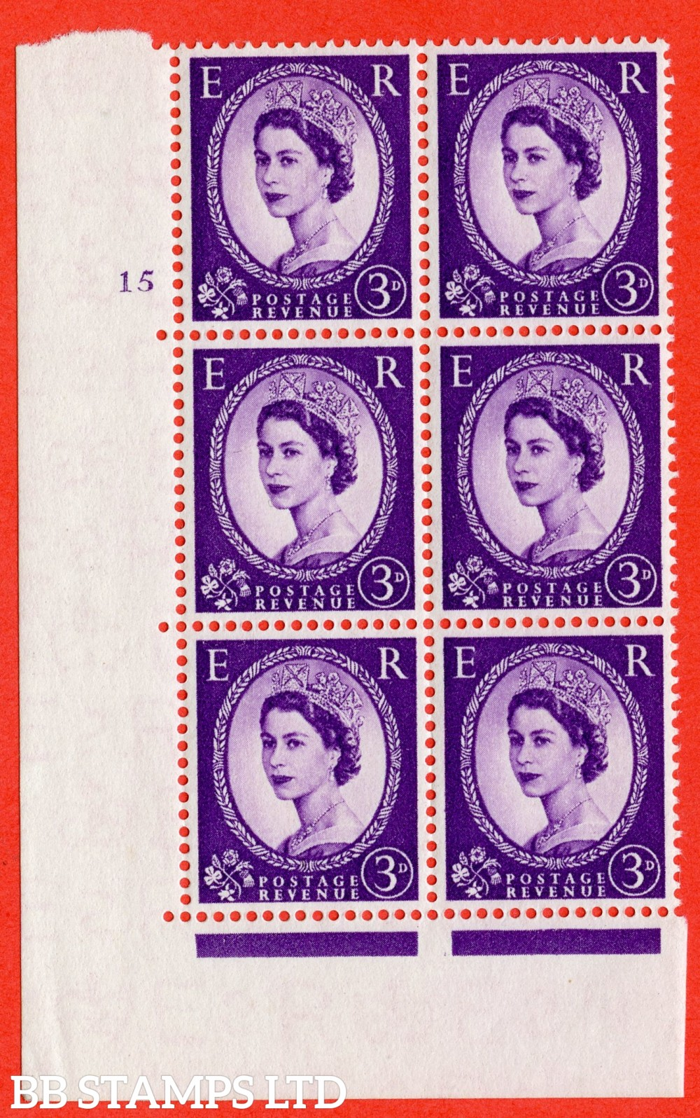 "SG. 545. S68. 3d. Deep - Lilac. A fine lightly mounted mint "" cylinder 15 no dot "" control block of 6 with perf type A E/I."
