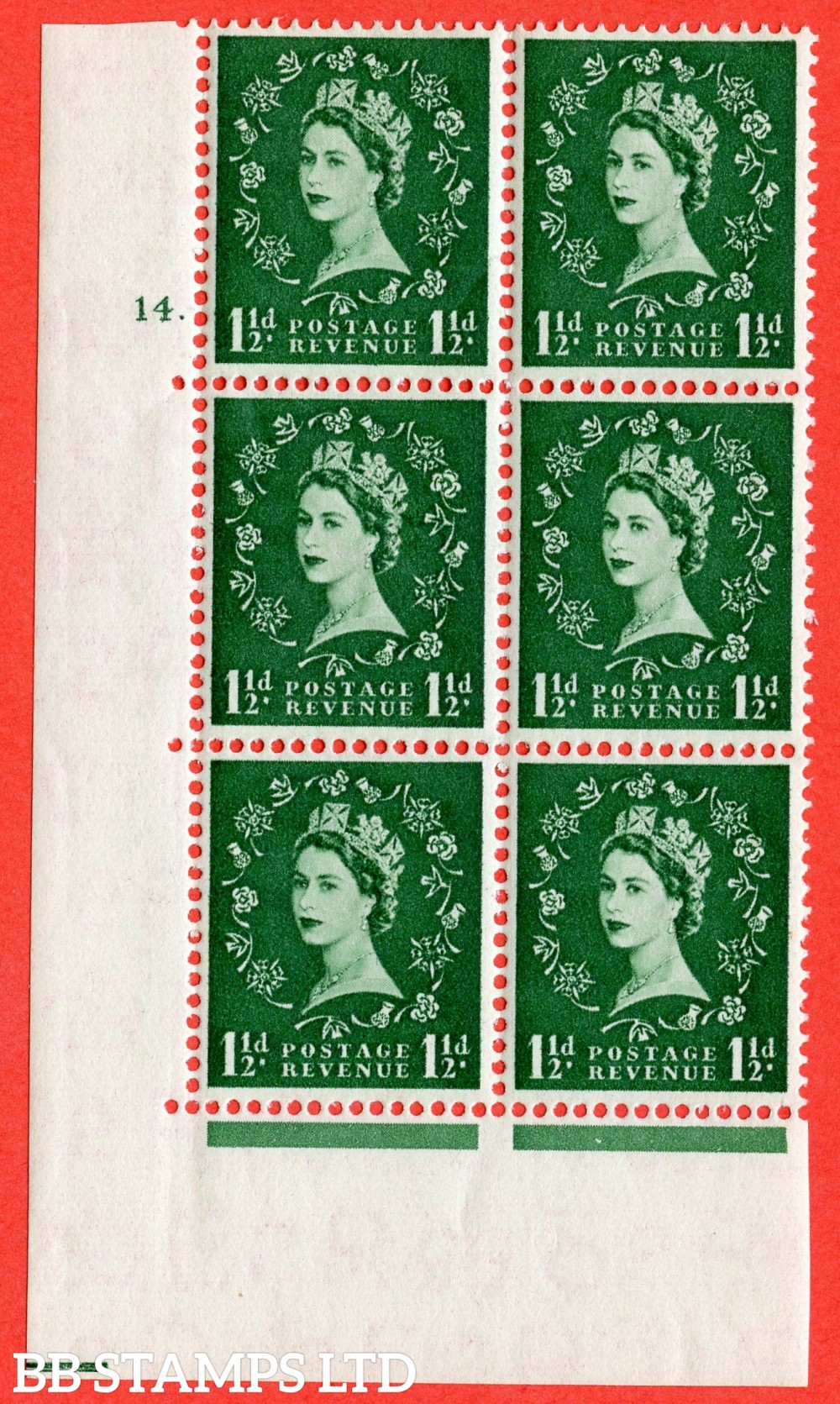 "SG. 542. S26. 1½d. Green. A fine lightly mounted mint "" cylinder 14 dot "" control block of 6 with perf type A E/I"