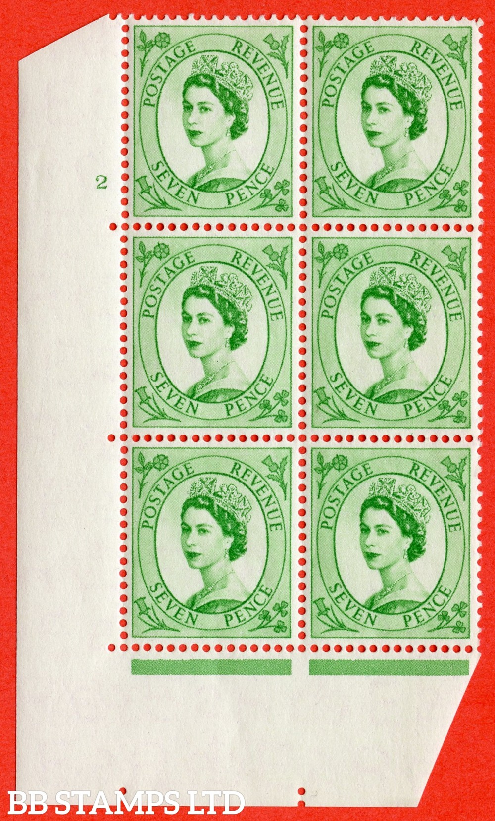 "SG. 549. S115. 7d. Bright Green. A superb UNMOUNTED MINT "" cylinder 2 no dot "" control block of 6 with perf type A E/I."