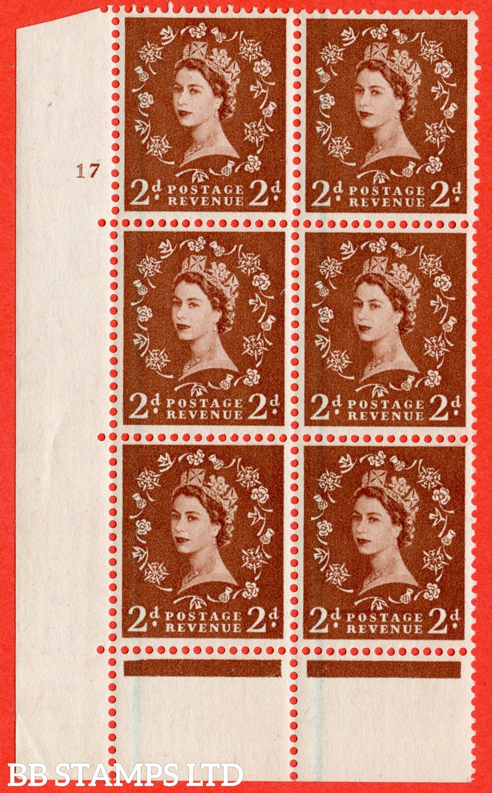 "SG. 564. S39. 2d Red - brown. A superb UNMOUNTED MINT "" cylinder 17 no dot "" control block of 6 with perf type C E/P."