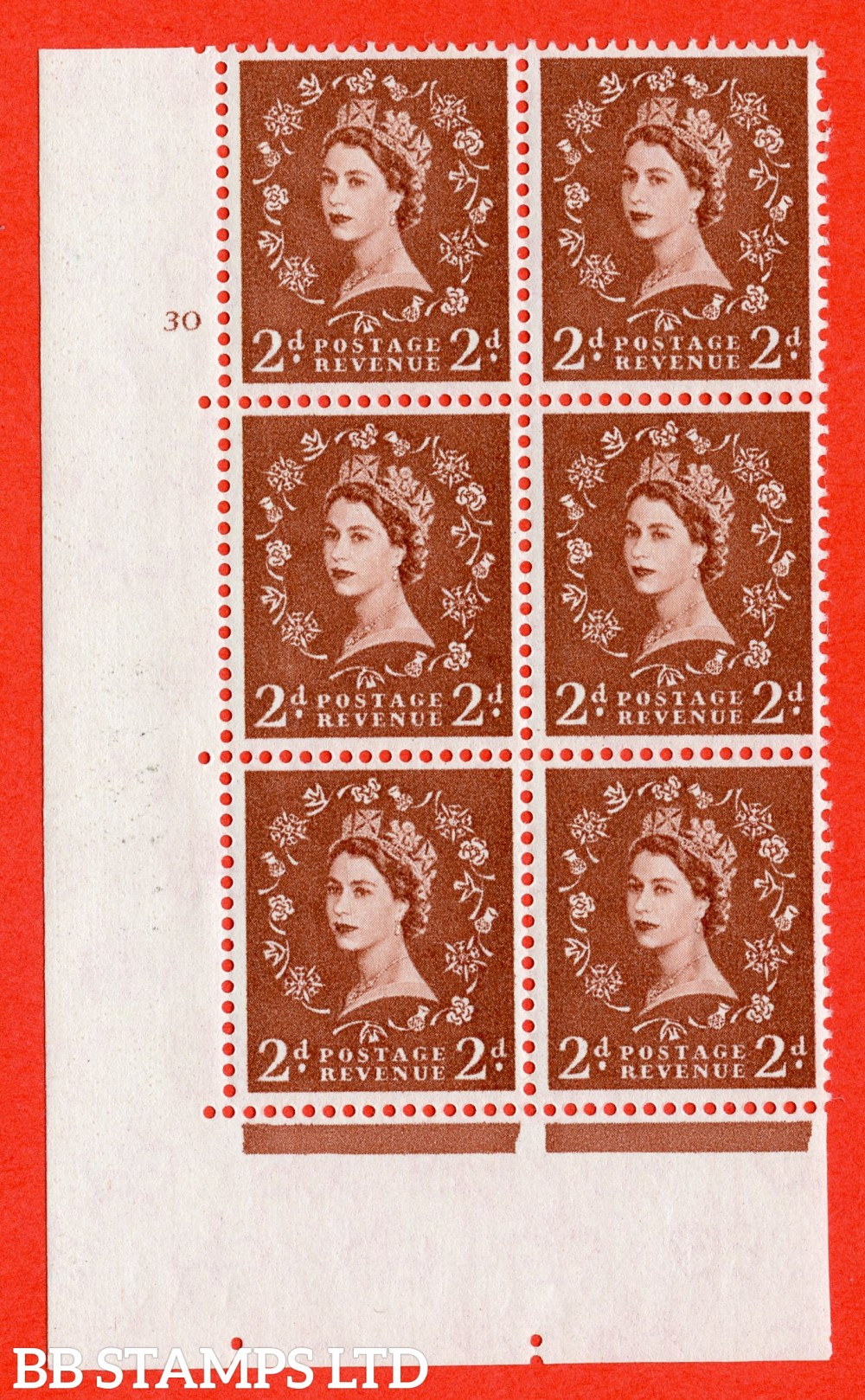 "SG. 573. S41. 2d Red - Brown. A superb UNMOUNTED MINT"" cylinder 30 no dot "" control block of 6 with perf type A E/I. WHITE paper."