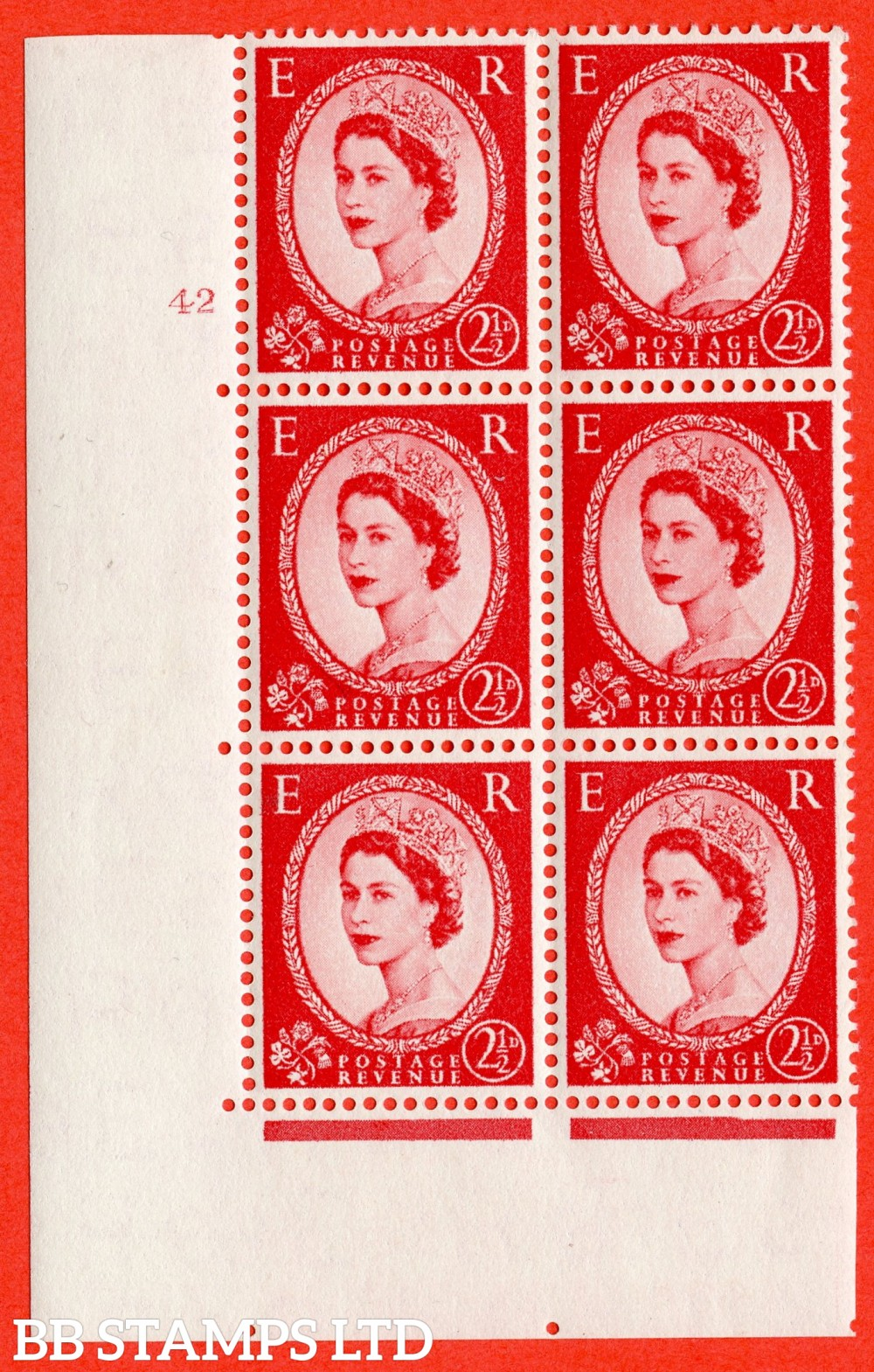 "SG. 544. S52. 2½d. Carmine - Red. A fine lightly mounted mint "" cylinder 42 no dot "" control block of 6 with perf type A E/I."