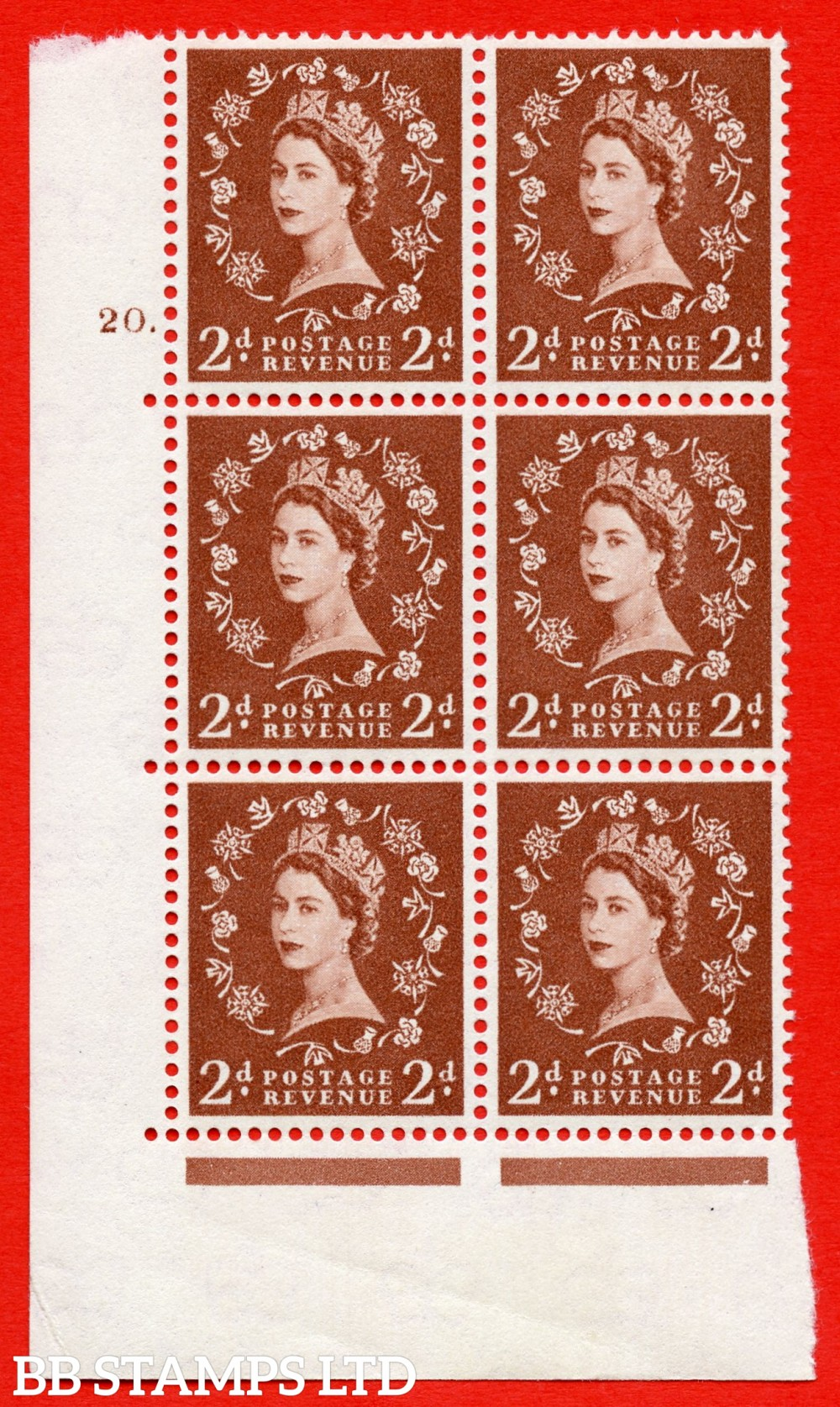 "SG. 573. S40. 2d light red brown . A superb UNMOUNTED MINT "" cylinder 20 dot "" control block of 6 with perf type A E/I. CREAM paper."