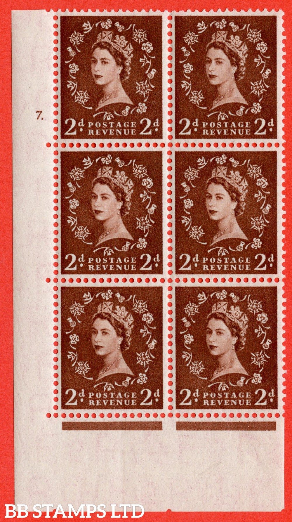 "SG. 543. S37. 2d. Red-brown. A superb UNMOUNTED MINT "" cylinder 7 dot "" control block of 6 with perf type A E/I."