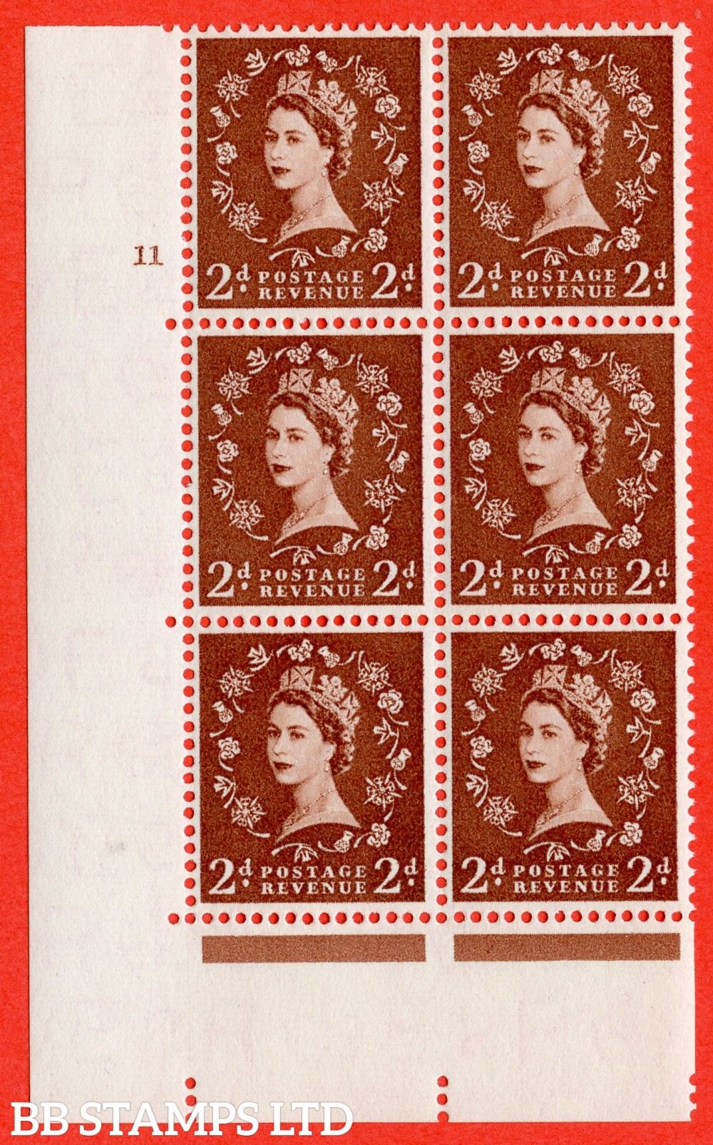 "SG. 543b. S38. 2d. Light Red-brown. A superb UNMOUNTED MINT "" cylinder 11 no dot "" control block of 6 with perf type A E/I."