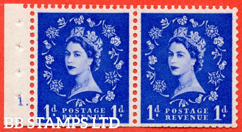 "SG. 541. SB28. 1d Ultramarine. A fine UNMOUNTED MINT cylinder "" 1 dot "" booklet pane. Perf type (E) with TRIMMED PERFS. Smooth edge."