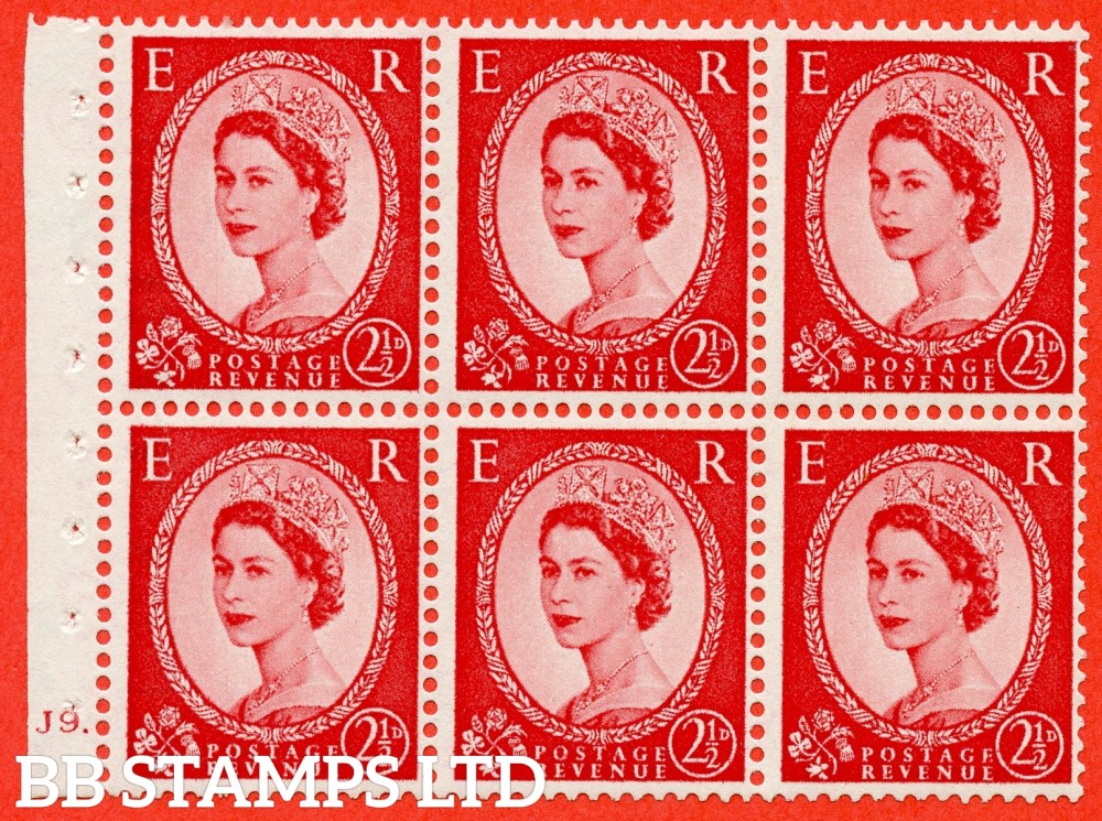 "SG. 544b. SB81. 2½d carmine - red. A fine mounted mint "" J9 dot "" booklet pane of 6. Perf type (Iet) with TRIMMED PERFS. Smooth edge."