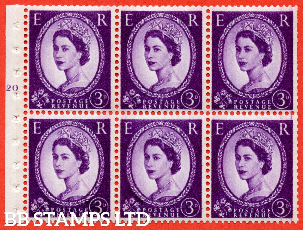 "SG. 615. SB100. 3d Deep Lilac. A fine UNMOUNTED MINT cylinder "" K20 T no dot "" booklet pane of 6. Perf type (I) with TRIMMED PERFS. Smooth edge. White Paper."