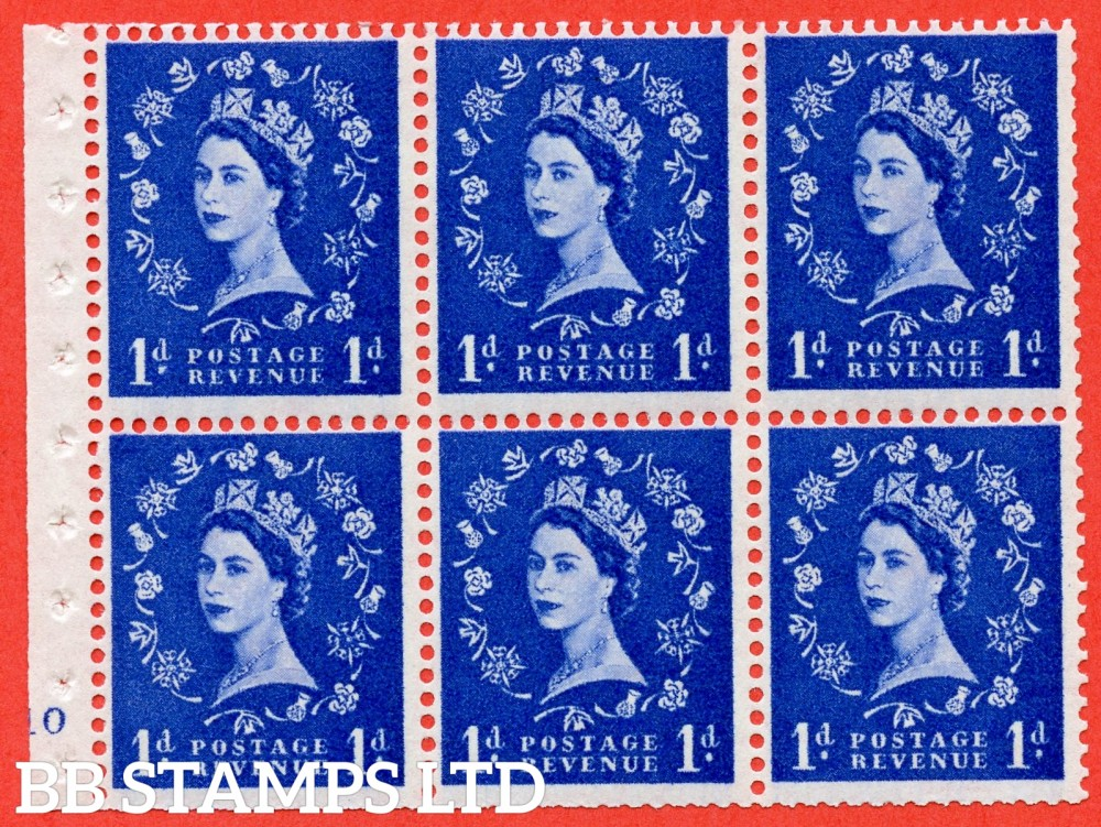 "SG. 571. SB31. 1d Ultramarine. A fine UNMOUNTED MINT cylinder "" F10 no dot "" booklet pane of 6. Perf type (I) with TRIMMED PERFS. Smooth edge White paper."