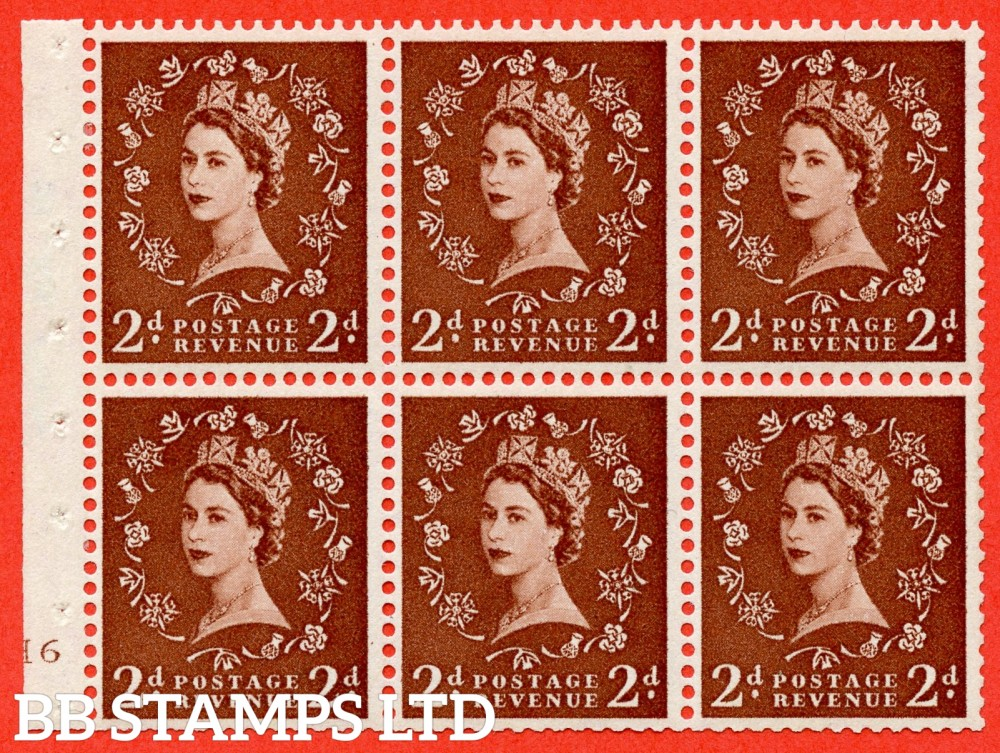 "SG. 543b. SB78. 2d Light red-brown. A fine UNMOUNTED MINTcylinder "" H6 no dot "" booklet pane of 6. Perf type (I) with TRIMMED PERFS. Smooth edge."