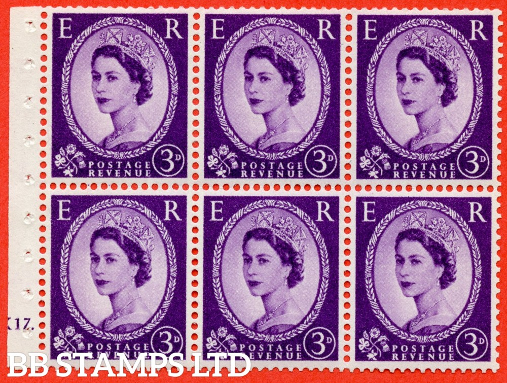 "SG. 575. SB92. 3d Deep Lilac. A fine UNMOUNTED MINT cylinder "" K17 dot "" booklet pane of 6. Perf type (Ieb) with GOOD PERFS. Smooth edge. Cream paper."