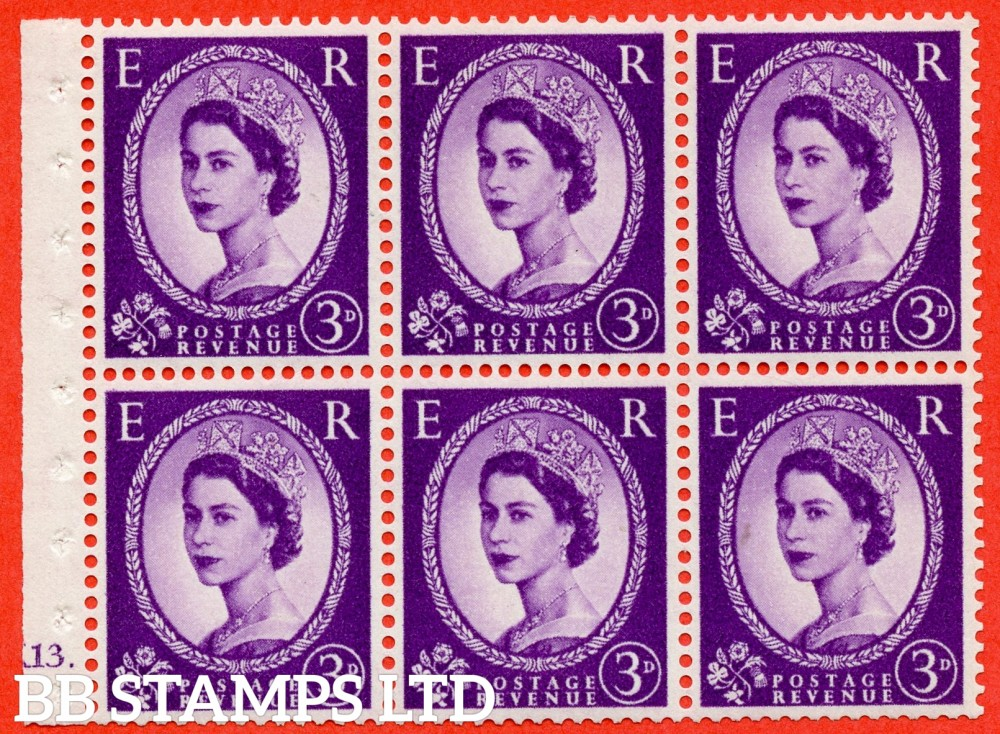 "SG. 575. SB92. 3d Deep Lilac. A fine mounted mint cylinder "" K13 dot "" booklet pane of 6. Perf type (Ieb) with TRIMMED PERFS. Smooth edge. Cream paper."