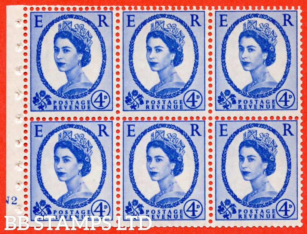 "SG. 576a. SB105. 4d Deep Ultramarine. A fine UNMOUNTED MINT cylinder "" N2 no dot "" booklet pane of 6. Perf type (I) with TRIMMED PERFS. Smooth edge. White paper."